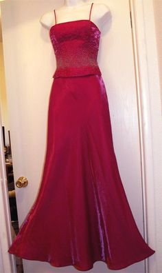 FAVIANA Fuschia Beaded Gown with Shawl Small Long by mrnglry, $95.00