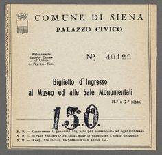 "Town of Siena ticket to enter museum and monuments found inside of ""Italy in One Volume"" from the Prendergast Personal Library"