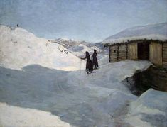 """Winter day, Scales in Telemark - Jacob Gløersen, 1900. Norwegian,1852-1912 Oil on canvas, 93 x 121 cm """