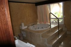"""Jacuzzi Tub for 6......    Stayed in Punta Cana, Dominican Republic."""" Excellence"""" Resort. Got bumped up to the Honeymoon Suite with a floating King Size Bed in middle of room, jacuzzi in bathroom and on outside deck looking at ocean..."""