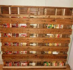 Awesome Pallet Projects Furniture Shelves Pantries -i Made My Own Can Storage Rack From An Old Palle Pallet Pantry, Wooden Pantry, Pallet Crates, Old Pallets, Recycled Pallets, Wooden Pallets, Pallet Storage, Basement Storage, Diy Pallet Projects