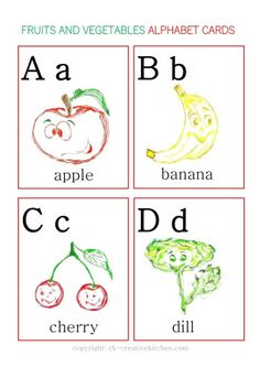 FRUITS AND VEGETABLES - #ALPHABET CARDS FREE PRINTABLE