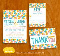 DIGITAL PRINTABLE  Triangular Invitation RSVP by YellowPuffDesigns, $25.00
