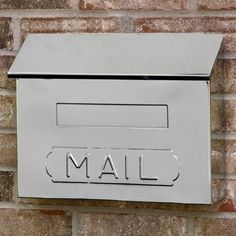 """Horizontal """"MAIL"""" Wall-Mount Mailbox - Polished Stainless Steel"""