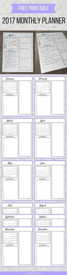 Free Printable Planner | 2017 Calendar | For Organizing