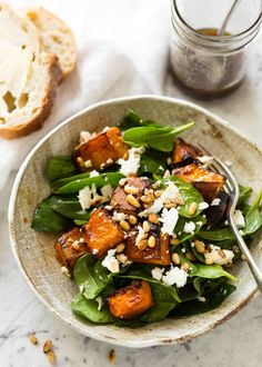 This Roast Pumpkin, Spinach and Feta Salad with a Honey Balsamic Dressing is a magical combination. Terrific side or as a meal. Roast Pumpkin, Spinach and Feta Salad edward windvogel edwardwindvogel roast pumpkin spinach & feta Healthy Salad Recipes, Healthy Snacks, Vegetarian Recipes, Healthy Eating, Cooking Recipes, Side Salad Recipes, Fast Recipes, Spinach Feta Salad, Feta Salat