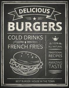 chalk and cheese: Burger poster gestileerde als schets tekening op de chalkboard.Vector afbeelding.