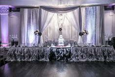 Silver & white backdrop with purple and pure white LED lights on the side