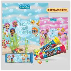 DIY Printable Bubble guppies mini m&m's tubes by BeHappyDesign Baby First Birthday, First Birthday Parties, First Birthdays, Birthday Ideas, Bubble Guppies Birthday Cake, Bubble Guppies Party, Bubble Guppies Decorations, Crafts For Kids, Paw Patrol