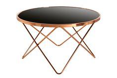 Table d'appoint design Ø 85 cm en métal et verre coloris cuivre et noir