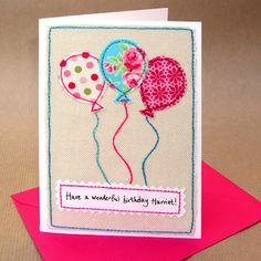 Personalised Balloons Girls Birthday Card by Jenny Arnott Homemade Birthday Cards, Girl Birthday Cards, Homemade Cards, Happy Birthday, Birthday Gifts, Fabric Postcards, Fabric Cards, Paper Cards, Embroidery Cards
