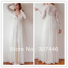 2014 New Stunning Vintage Boho V Neck White Ivory Beach Maternity Wedding Dresses Gowns Long Sleeves Lace Dreamy Spaghtti Straps $120.00