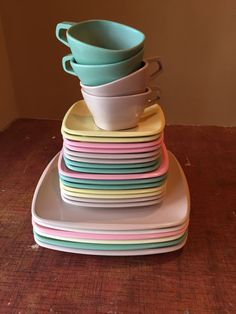 Vintage Melmac Set 1950s Harmony House Talk Of The Town Pastel Colored Plates Dishes Cups Retro Dinnerware Camper Cottage Dining Collectable