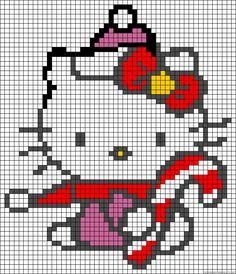 Hello Kitty Christmas perler bead pattern