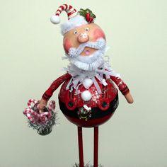 Santa Claus Folk Art Christmas Collectible Art by JuneBugsByLinda