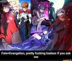Fate×Evangelion, pretty fucking badass if you ask me - iFunny :) Best Crossover, Anime Crossover, Manga Anime, Anime Art, Anime Boys, Tohsaka Rin, Shirou Emiya, Funny Naruto Memes, Fate Servants