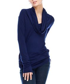 This Navy Cowl Neck Top by Saint Paradise is perfect! #zulilyfinds