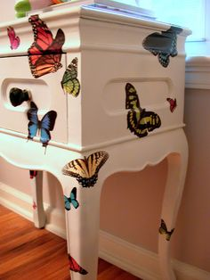 Decoupage couldn't be easier. All you have to do is brush on the glue, directly… Decoupage Furniture, Funky Furniture, Refurbished Furniture, Upcycled Furniture, Furniture Projects, Furniture Making, Furniture Makeover, Painted Furniture, Diy Projects