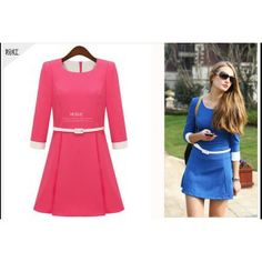 round neck seven-point sleeve pullover dress-rose red