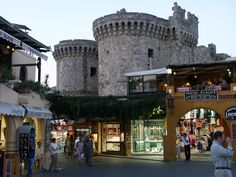 Rhodes Town shops with castle behind