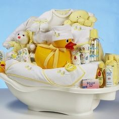 Bath Essentials Basket        When creating a bath time basket, instead of using a plain basket; try filling a newborn bathtub with fun items. Pick out some hooded towels and washcloths. Fill the tub with baby lotions, bath soaps and bubble baths. You can also include bath toys. Another idea is to buy a baby bathrobe and matching slippers. These are all essential bath items that the new mom is going to really need.