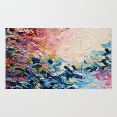 PARADISE DREAMING Colorful Pastel Abstract Art Painting Textural Pink Blue Tropical Brushstrokes Area & Throw Rug