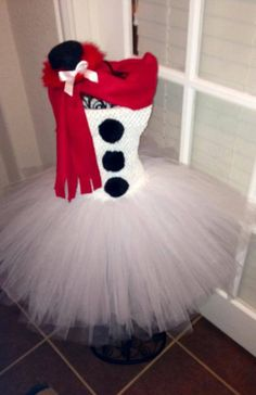 Snowman tutu dress with top hat & red scarf by MillieKatenmommy, $45.00