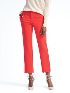 Avery-Fit Scallop-Hem Pant