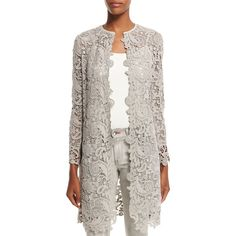 Ralph Lauren Black Label Thora Lace Open-Front Long Coat (4 575 SEK) ❤ liked on Polyvore featuring outerwear, coats, pebble grey, open front coat, long gray coat, slim coat, slim fit coat and ralph lauren black label