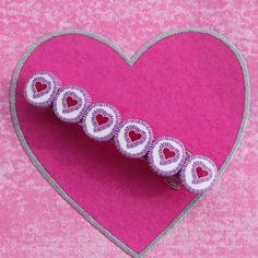 Heart barrette polymer clay barrette pink purple by ShuliDesigns, $8.50