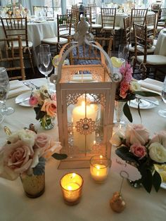 Lantern Center Pieces With Candles Or White Lights For The Reception Centerpiece WeddingCandle