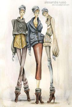 Alessandra Russo, Knitwear Designer | knitGrandeur Illustration Mode, Fashion Illustration Sketches, Fashion Sketchbook, Fashion Sketches, Dress Sketches, Design Illustrations, Portfolio Mode, Fashion Portfolio, Moda Fashion