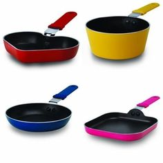 Kitchen Mini Pans! Hydrolon water-based nonstick - pfoa free Pure aluminum ensures consistent heating Includes 6-inch fry pan, 6-inch square griddle, 0.3-quart saucepan and 6-inch heart shaped fry pan. Handles are comfortable to grip and are oven-safe up to 400 degrees. Get all four pans for only $31.99!