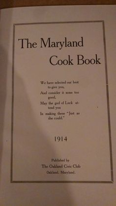 The Maryland Cook Book 1914