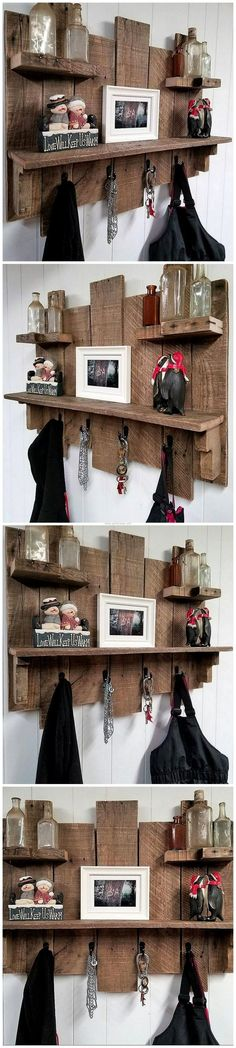 The items that fulfill multiple purposes are great because they save the space as well as the money; it eliminates the requirement of buying or creating the products for different purpose separately. Wood pallets serve well by giving a chance to reshape them into different unique ideas with one item fulfilling many purposes. Diy Coat Rack, Rustic Coat Rack, Coat Racks, Woodworking Projects That Sell, Woodworking Tips, Key Rack, Rustic Furniture, Pallet Furniture, Pallet Sofa