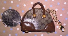 Kawaii Polymer Clay Designer Tote Charm - Brown with Gold Accents. $9.95, via Etsy.