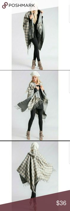 """Gray and Cream Shawl/Poncho Has little fringe strings on edges. With a hoody, 100% acrylic. Made in China, no armholes. Cute with some leggings and a long sleeve during fall/winter! 102""""X59"""" Jackets & Coats Capes"""