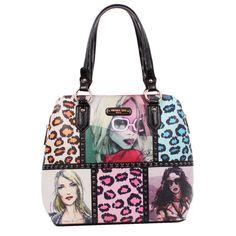 Nicole Lee Sketch Book Print Dome Satchel Handbag
