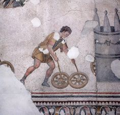 Mosaic of a child playing with hoops (trochos). Byzantine, 6th century AD. From the Great Palace of Constantinople; on display in the Great Palace Mosaic Museum, Istanbul.