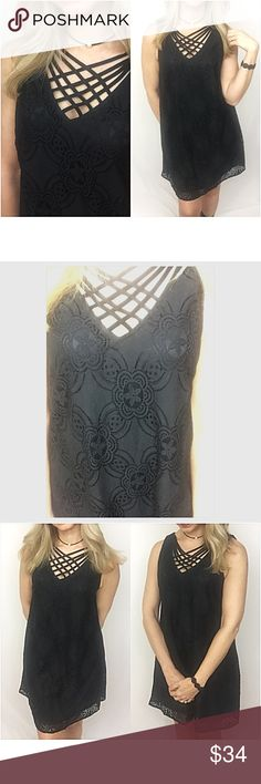 """✨1HRSALE Lined Lace CrissCross LBD Tunic Dress SML You will love this stunning LBD which has all the latest fashion trends.  The flattering criss cross neck detail & floral crochet lace overlay are so feminine. Sleeveless & fully lined with keyhole back button closure. Can also wear as a tunic. 70% Cotton/30% nylon. Lining 100% Polyester. Love it so much❤️  Small 2/4 Bust 32-34 Length 33"""" Medium 6/8 Bust 36-38 Length 33.5"""" Large 10/12 Bust 38-40 Length 34"""".      striped Dresses"""