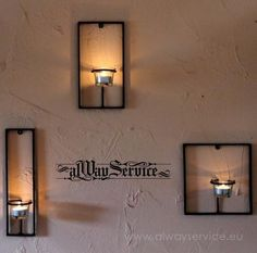 Wall Candle Holders Set, Price: 20.46 Euro. Handmade. Sizes, as follows: 28/7 cm 23/12 cm 19/19sm.  Candle holders are made of wrought iron, powder coated. Color: black mattee. The set includes glass cups for tea candles. Each candle holder is installed separately. Different variants of arrangement are possible. Shop online at: www.alwayservice.eu Wrought Iron Candle Holders, Wall Candle Holders, Modern Sconces, Tea Candles, Candle Sconces, Modern Contemporary, Wall Lights, Home And Garden, Glass