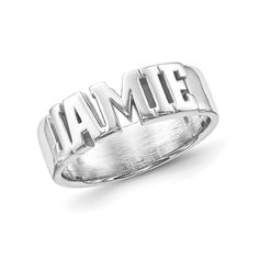 Sterling Silver Block Letters Name Ring