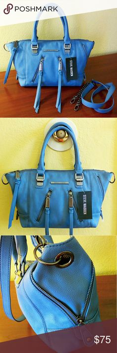"49✂Steve Madden Satchel in Baby Blue ✨NWT✨  ⏩Gorgeous baby blue color that is perfect for every season! ❤ ⏩Made from pebbled faux leather, this satchel features deep, luxuriously rich baby blue color with sleek slate gray hardware ⏩Sturdy dual handles ⏩Removable shoulder strap with leather & chain combination ⏩Top zipper closure ⏩Exterior➖ 2 asymmetrical zip pocket, side zippers to convert size up/down ⏩Interior➖1 zip pocket, 2 slip pockets   ⏩Great looking bag, so spacious!  Size(apx) 12.5""…"