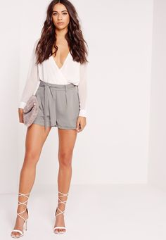 Tie Waist Crepe Tailored Shorts Grey - Missguided