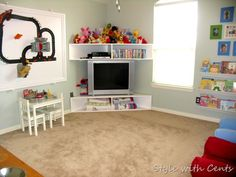 How to decorate a playroom using things you already have. www.stylewithcents.blogspot.com