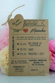 Kraft trouwkaart met hartje. Op ander soort papier en mss zonder extra hartje. Maar I love it!