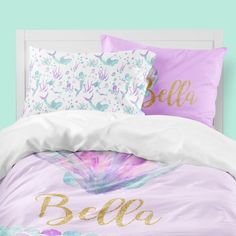 Purple seashell and mermaid bedding for your big girl, complete with personalization! Available in twin, full, queen, or king and choose a comforter or duvet cover. Set includes duvet cover or comforter and two adult pillowcases. Does not include sheets. Toddler Comforter, Toddler Pillowcase, Kids Bedding Sets, Twin Comforter, Crib Bedding, Mermaid Baby Blanket, Baby Mermaid, Mermaid Room, Mermaid Bathroom