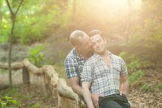 Same sex engagement session at sunset in Central Park, NYC. Photos by Mikkel Paige Photography.