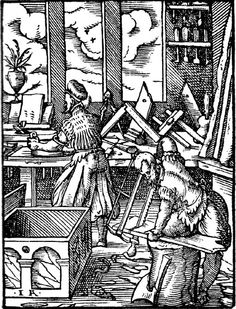 """Medieval woodworkers  """"Der Schreiner"""" from the Standebuch by Jost Amman. Woodcut 1568."""