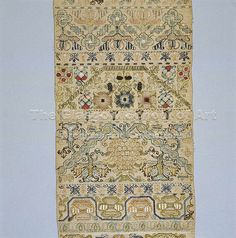 stitch sampler from 1669.  at glasgow school of art.
